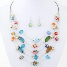 Women Necklace Crystal Beads Multi Layer Earrings Fashion Jewelry Set