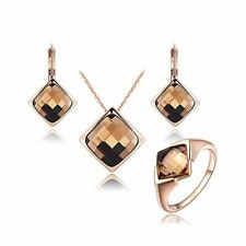 Women Crystal Rose Gold Pleated Necklace Earrings Ring Jewelry Set