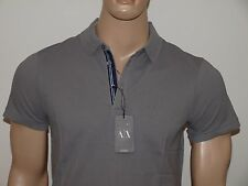 Armani Exchange Embroidered Logo Pique Stretch Polo Shirt Charcoal Gray NWT