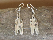 Native American Navajo Indian Jewelry Sterling Silver Double Feather Earrings -