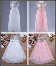 Flower Girls Sequin Princess Pageant Wedding Bridesmaid Chiffon Party Tutu Dress