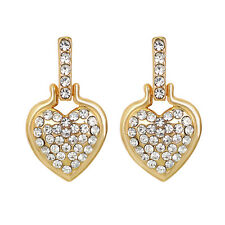 1 Pair Lady Fashion Jewelry Rhinestone Inlaid Love Heart Ear Stud Earrings Solid