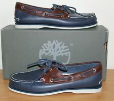 Timberland Classic Leather Boat Shoes Blue & Brown RRP £110