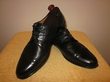 Very Nice Black TRAVERSI Wing-Tip Oxfords Size 15 M Italy