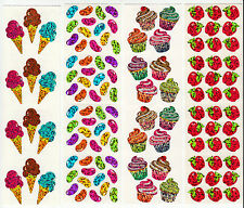 Vintage Hambly Glitter Sticker Strip- Cupcake Apple Jellybean Candy - You Choose