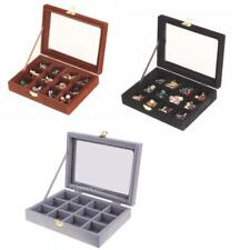 12 Slots Glass Top Ring Earrings Beads Jewelry Case Display Box Holder Storage