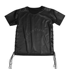 Men Patent Leather Lace-up T-Shirt Top Muscle Short Sleeve Clubwear Undershirt