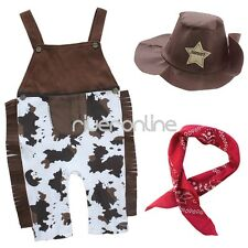 3pcs Baby Boys Cowboy Suspender Overalls Hat Handkerchief Outfit Clothes Set New