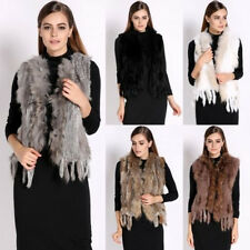 100% Real Rubbit fur Women Vest  Raccoon Knitted Rabbit Fur Waistcoat Outwear