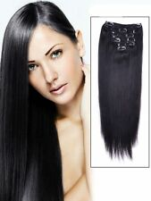 """7PCS Clip in Remy Human Hair Extensions Straight Jet Black 15""""18""""20""""22""""24""""26""""28"""""""