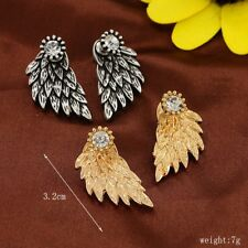 Vintage Silver Black Color New Feather Stud Earring for Women