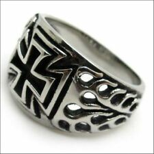 New Fashion Stainless Steel Charm Silver Plated Cross Finger Ring For Men