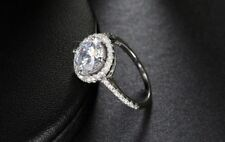 Crystal Decorated Wedding Engagement Zircon Silver Ring for Women