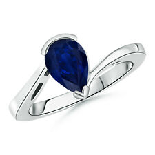Natural Pear Shaped Solitaire Sapphire Bypass Ring 14K White Gold Size 3-13
