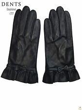 DENTS Ladies Women's Leather Gloves Elegant Warm Winter with Bow Tie 2015-3