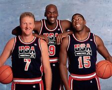 Larry Bird, Magic Johnson and Michael Jordan Photo Dream Team (Select Size)