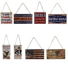 Vintage Style Wooden Hanging Plaque American USA Patriotic Sign Home Decoration