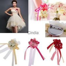 Wedding Boutonniere Corsage Flower Wrist Flower Brooch Pin Ribbon
