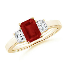 Emerald Cut Ruby and Diamond Three Stone Ring in 14k Yellow Gold Size 3-13