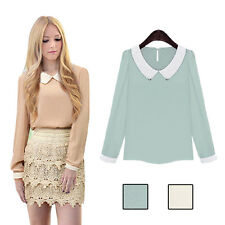 Blouse Doll Collar Long Sleeve Sweet Chiffon Women Fashion Casual Hot