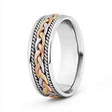 Wide Tri Color Comfort Fit Hand Woven Wedding Band 7MM for Him Ring Size 4-14