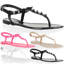 86Y WOMENS SPIKED LADIES FLAT STUDDED T-BAR BEACH JELLY SANDALS SHOES SIZE 3-8