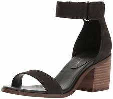 Jessica Simpson Rylinn City Stacked Heeled Two Peice Sandal Black Leather