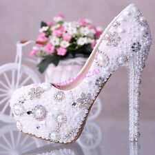 Womens Bridal Flower Pearl Diamond Crystal High Heels Wedding Shoes 10-14cm hot
