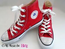 CONVERSE All Star Red High or Low Tops with SWAROVSKI CRYSTALS