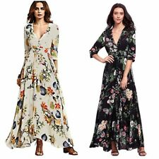 Women Retro Vintage Floral Boho Button Down Long Maxi Skirt Evening Party Dress