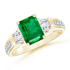Natural Classic Three Stone Emerald and Diamond Ring 14K Yellow Gold Size 3-13