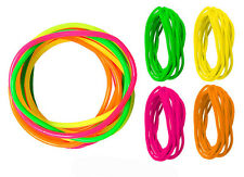Retro Rubber Bracelets Bright Neon Shag Bands 90'S Four Pink Green Bangle's