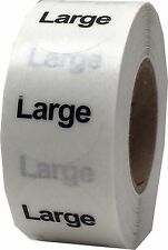 Clear Circle Worded Clothing Size Stickers, 3/4 Inch Round, 500 Total Labels
