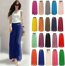 Retro Women Chiffon Double Layer Pleated New Long Maxi Dress Elastic Waist Skirt