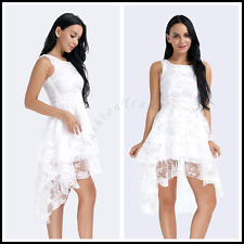 Sexy Women White Floral Print Gauze Panel Multi Layer Sleeveless Prom Gown Dress