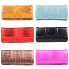 Fairy-Leather Genuine Sea Snake Skin Leather Trifold Wallet Clutch Purse