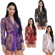 Sexy Women's Lingerie Lace Robes Babydoll Nightgown Kimono G-string Sleepwear