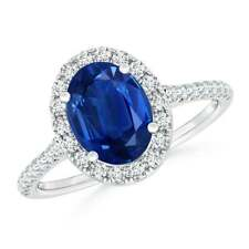 Natural Oval Sapphire Halo Ring with Diamond Accents 14K White Gold Size 3-13