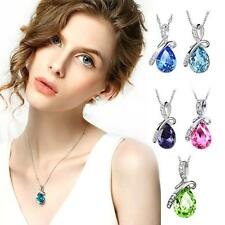 Lady Women's Rhinestone Chain Crystal Teardrop Necklace Pendant Fashion Jewelry