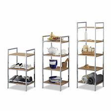 Bamboo Bathroom Storage Unit, 3-5 Shelves, Towel Stand, Kitchen Shelf, Tall