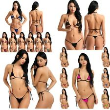 Sexy Women's Bikini Strappy Halter Top Cut Out Side Tie G-String Set Swimsuit