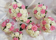 Wedding Flowers Ivory Antique Pink Brides Bridesmaids Bouquet Posy Cake Toppers