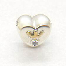 Genuine Authentic S925 Sterling Silver Majestic Heart Clear CZ Charm