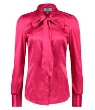 Ladies Pink Fuchsia Satin Pussy Bow Blouse - Elegant Long Sleeve Shirt for Women