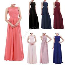 Women's Chiffon Long Lace Maxi Evening Wedding Formal Bridesmaid Prom Gown Dress