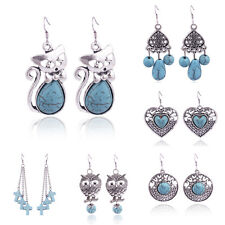 Vintage Jewelry Turquoise Dangle Hook Earrings Silver Plated Owl Heart