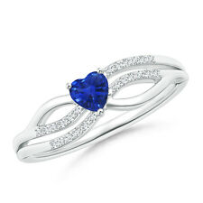 Solitaire Natural Blue Sapphire Heart Promise Ring with Diamond Accents 14k Gold