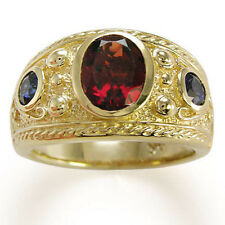 Men's Sapphire and Garnet Ring in 18k Solid Real Yellow Gold, Stamped 750 & 18k