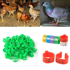 100Pcs 16mm Clip On Leg Rings Number 001-100 for Chickens Ducks Hens Poultry