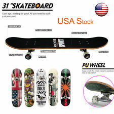 31'' RETRO Professional Cruiser Complete Skateboard Maple Wood Deck Board ABEC-9